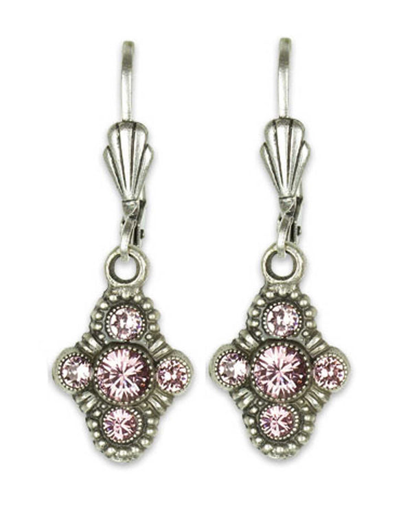 Anne Koplick ES07 Fila Earrings with French Wire pink Swarovski cross earrings