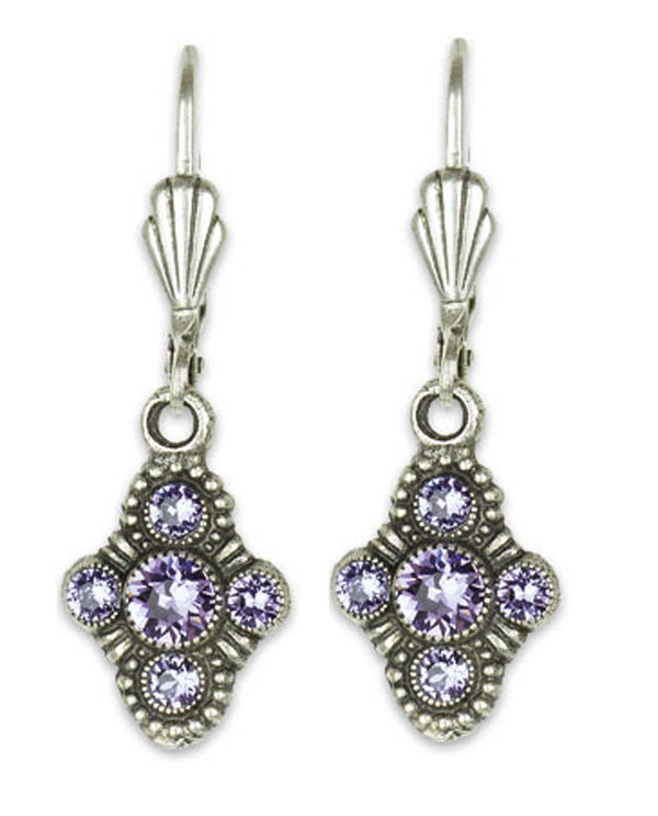 Anne Koplick ES07 Fila Earrings with French Wire purple Swarovski cross earrings