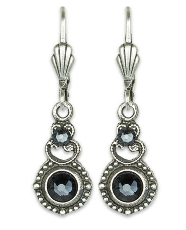Anne Koplick ES09 Pendulum Wire Earring graphite grey Swarovski crystal earrings