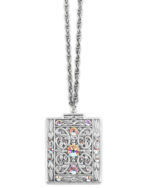 Anne Koplik NS3142 Large Square Necklace with Stone square silver necklace handmade in USA