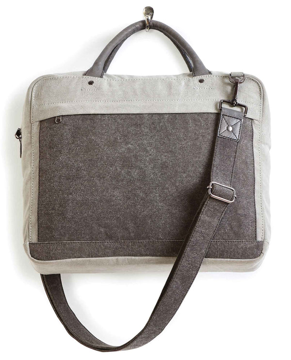 Mona B 256 Christian Messenger upcycled canvas messenger bag for laptops or tablets