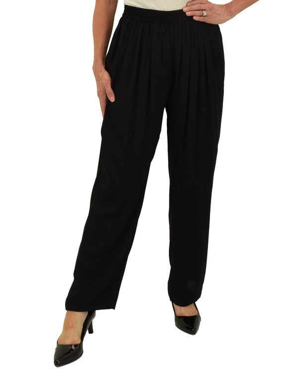 KSC7206 Black Silk Wide Leg Pant