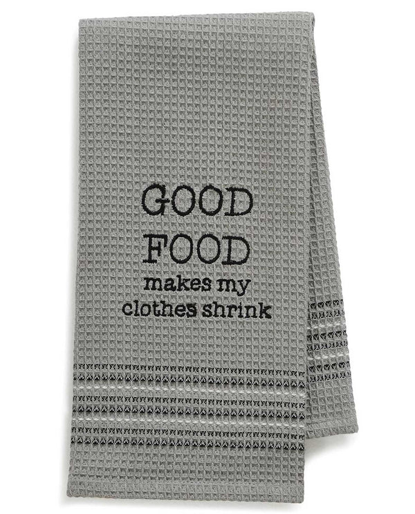 Mona B 187 Good Food Dishtowel grey waffle weave cotton dish towel with funny saying