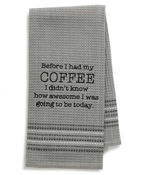 Mona B 195 Coffee Dishtowel grey waffle weave cotton dish towel with funny saying