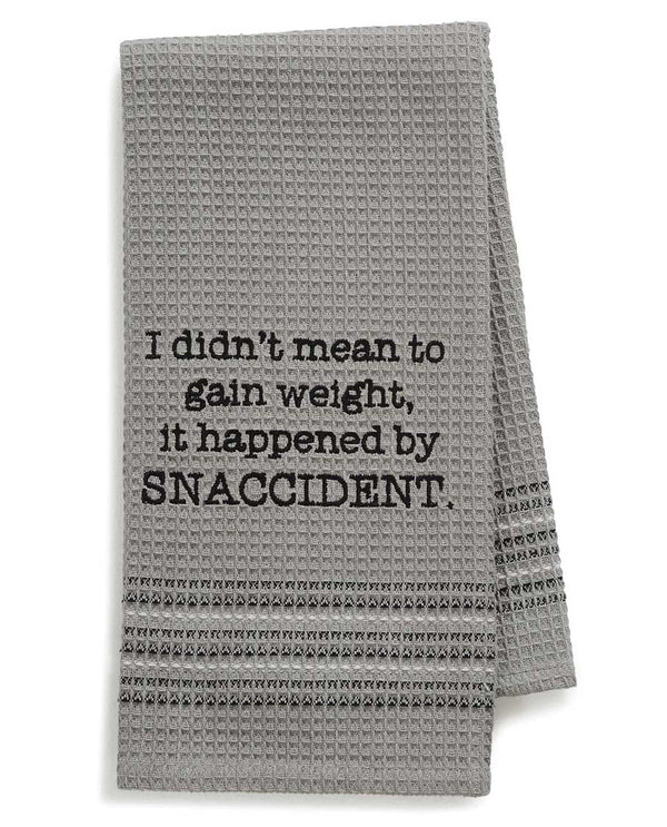 Mona B 184 Snacks Dishtowel grey waffle weave cotton dish towel with funny saying