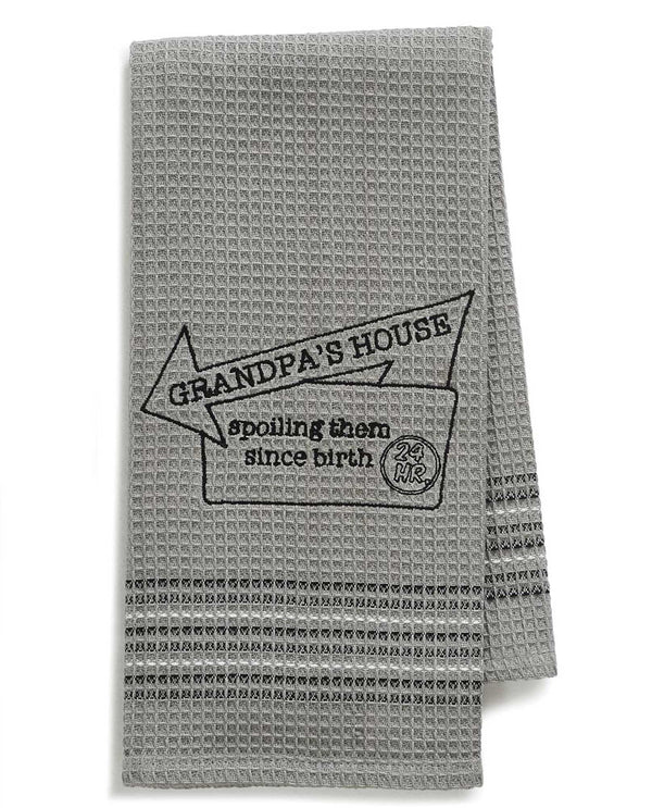 Mona B 192 Grandpa Dishtowel grey waffle weave cotton dish towel with funny saying