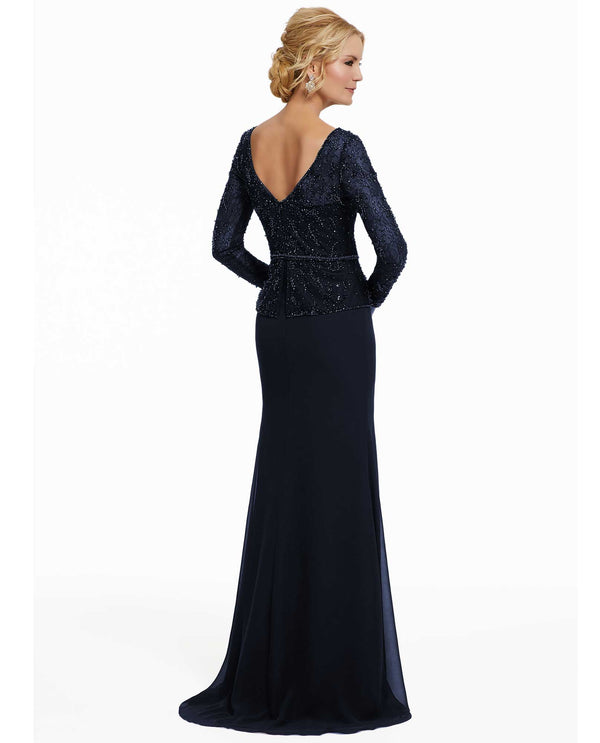 MGNY 72010 Beaded Net Over Lace Gown Navy