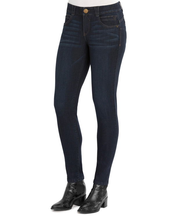 Democracy WAD1105BX Womens Zipper Jegging in a dark wash have slight whiskering