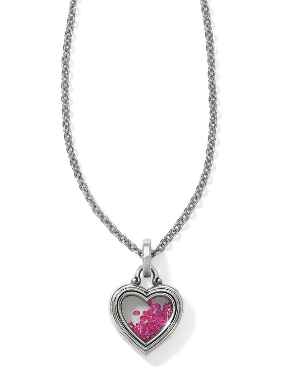 Silver pink Brighton JL7361 Pure Love Mini Heart Necklace with loose pink Swarovski crystals