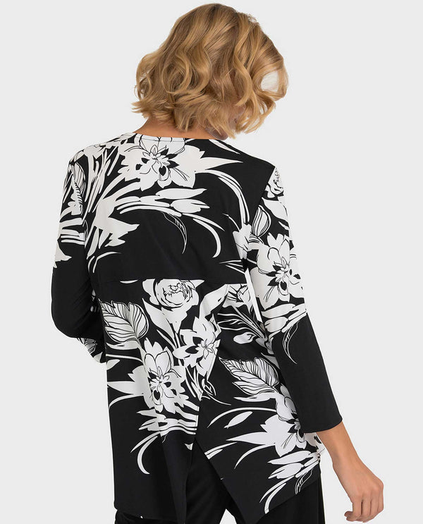 Joseph Ribkoff 193649 Floral Print Zipper Detail Top black and white 3/4 sleeve zipper top