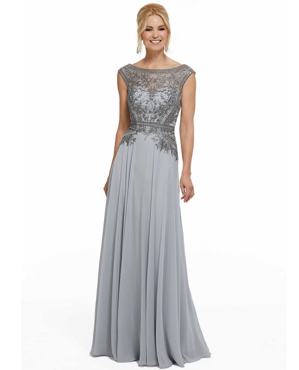 MGNY Mori Lee 72002 Beaded Cap Sleeve Gown silver evening gown with beading