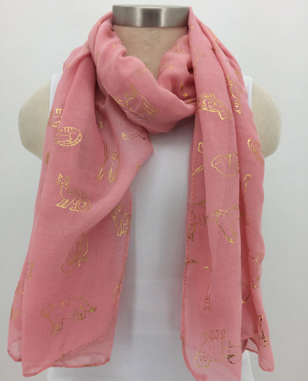Cat Outline Scarf-Coral
