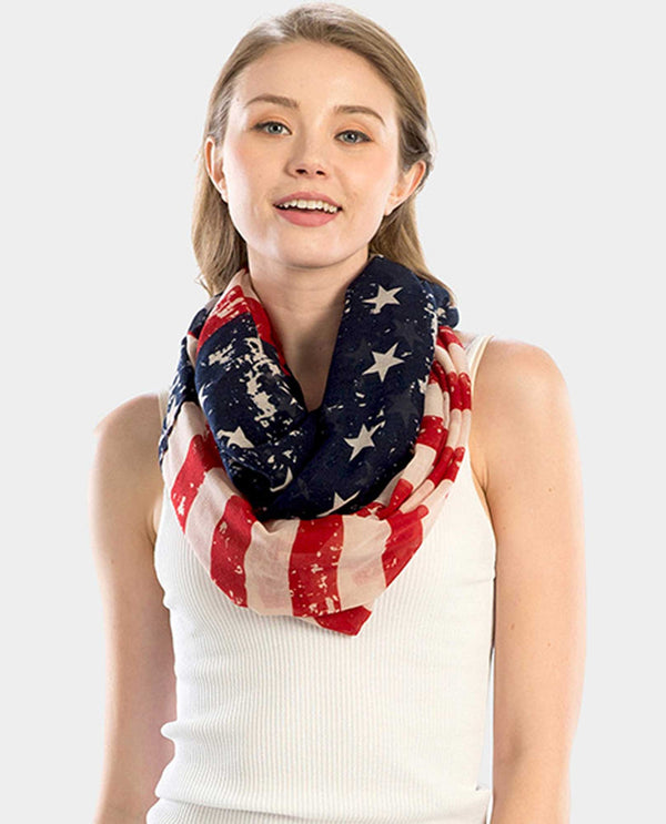 LOF828 Americana Infinity Scarf American flag infinity scarf for women