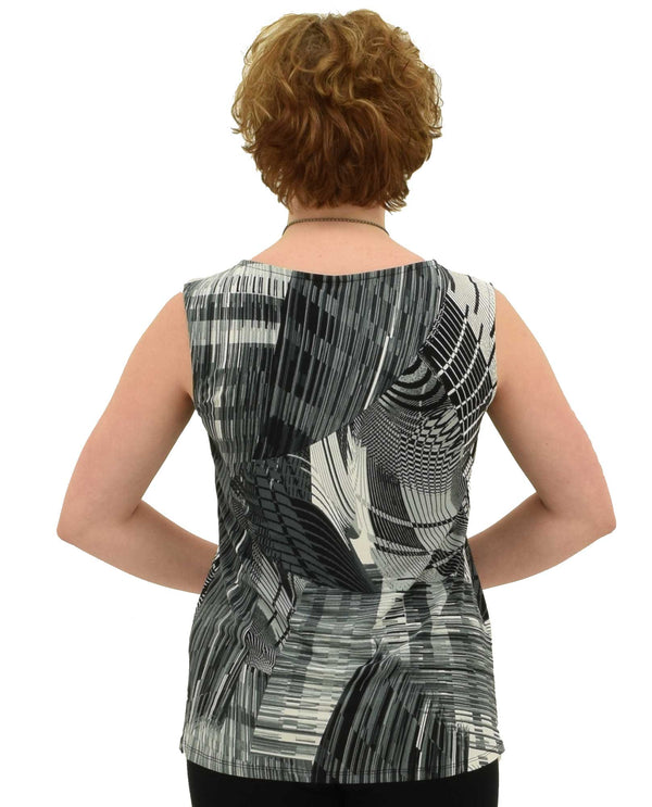 By JJ 201P-14 Abstract Print Tank Top in black and white back view