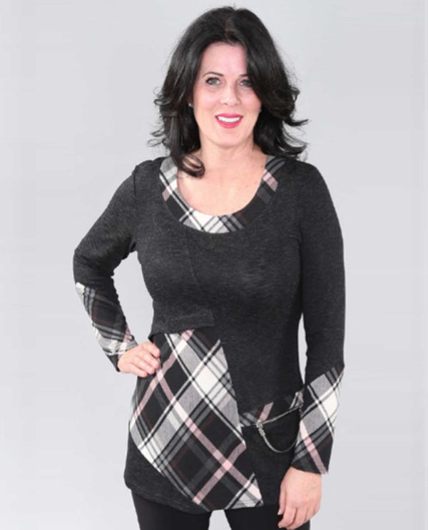 Pink/Grey Plaid Detail Tunic