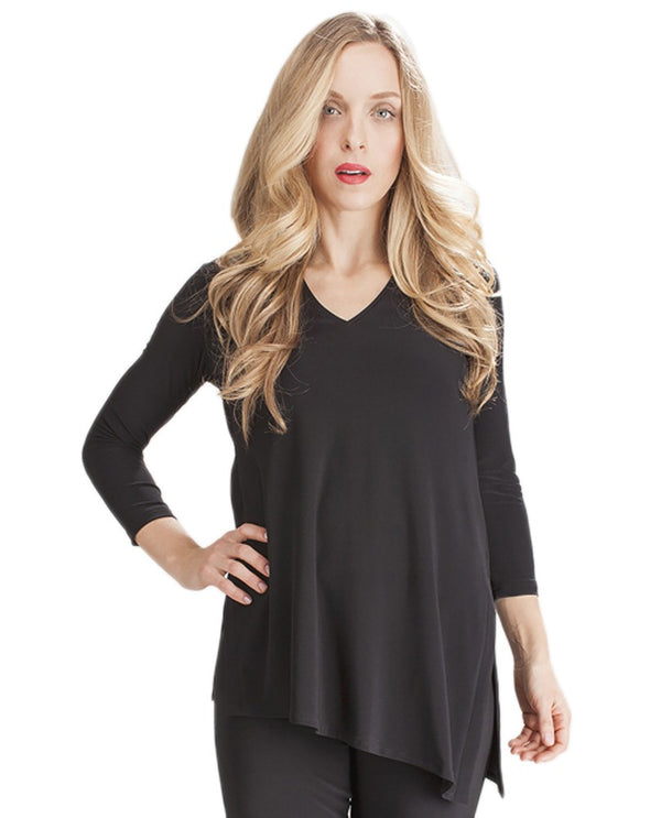 Sympli 22121R-2 Black Go To Narrow V Neck