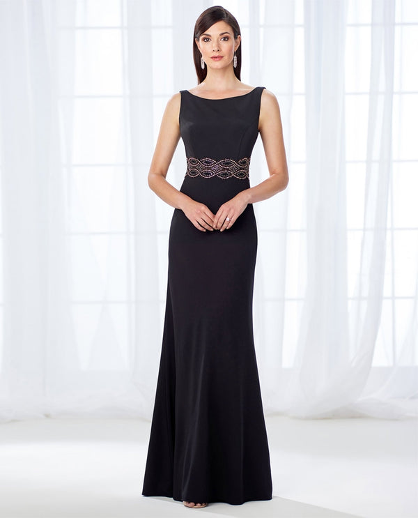 Cameron Blake 118662 Twill Beaded Dress black mother of the bride dress with belt