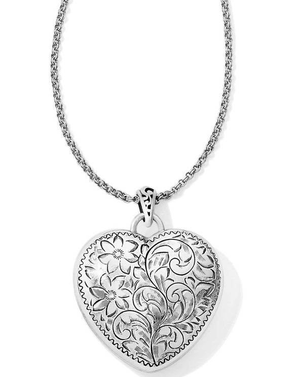 Brighton JM0920 Timeless Heart Convertible Locket Necklace silver heart shaped locket necklace