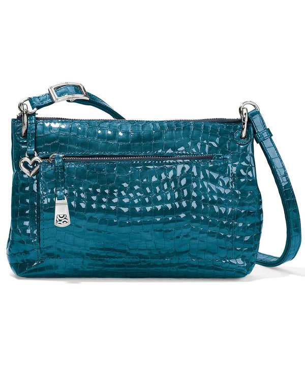 Brighton H4283K Bria Shine Messenger peacock croco-embossed teal leather crossbody bag