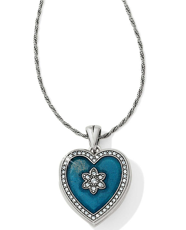 Brighton JM1023 Mi Amor Locket Necklace blue heart shaped locket necklace