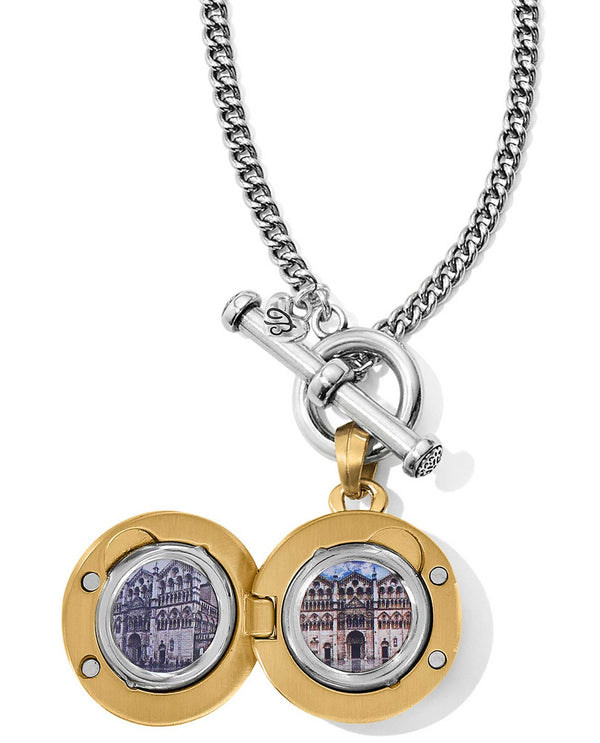 Brighton JM1082 Ferrara Two Tone Locket Necklace holds two photos