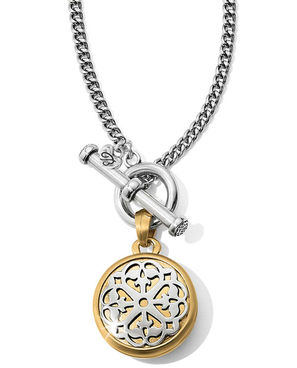 Brighton JM1082 Ferrara Two Tone Locket Necklace round locket necklace
