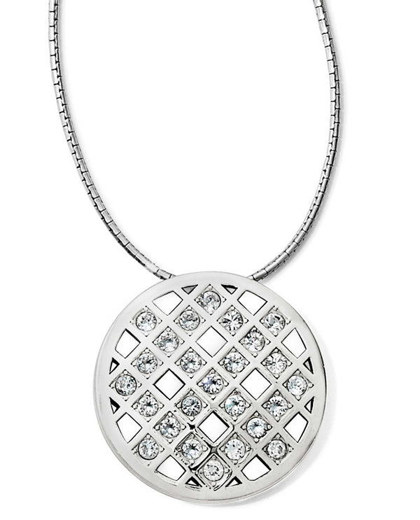 Brighton JM1261 Bonjour Long Necklace round silver necklace with geometric Swarovski