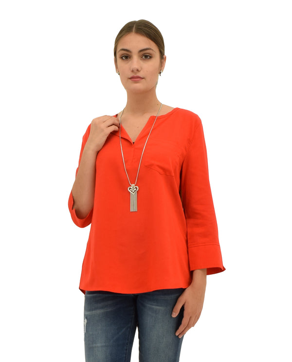 Multiples M39103TM Cuffed 3/4 Sleeve Top tomato