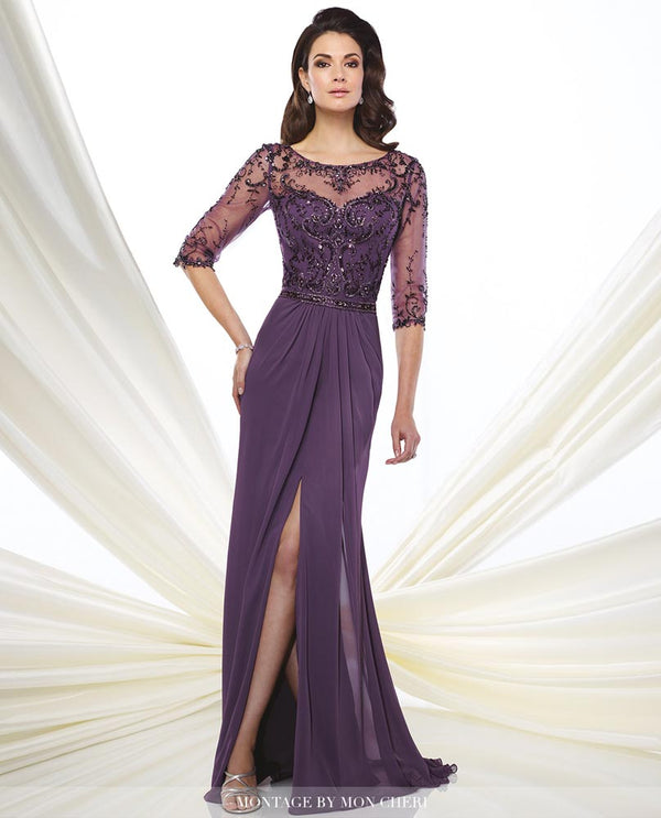 Montage 216963 Beaded Illusion Bodice Dress purple mother of the bride gown with 3/4 sleeves