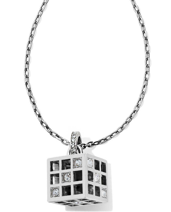 Brighton JM1251 Bonjour Cube Pendent Necklace silver cube necklace with Swarovski