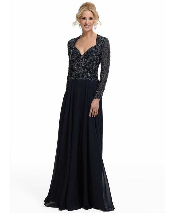 MGNY 72034 Long Sleeve Beaded Embroidery Dress navy long sleeve embroidered A-line gown