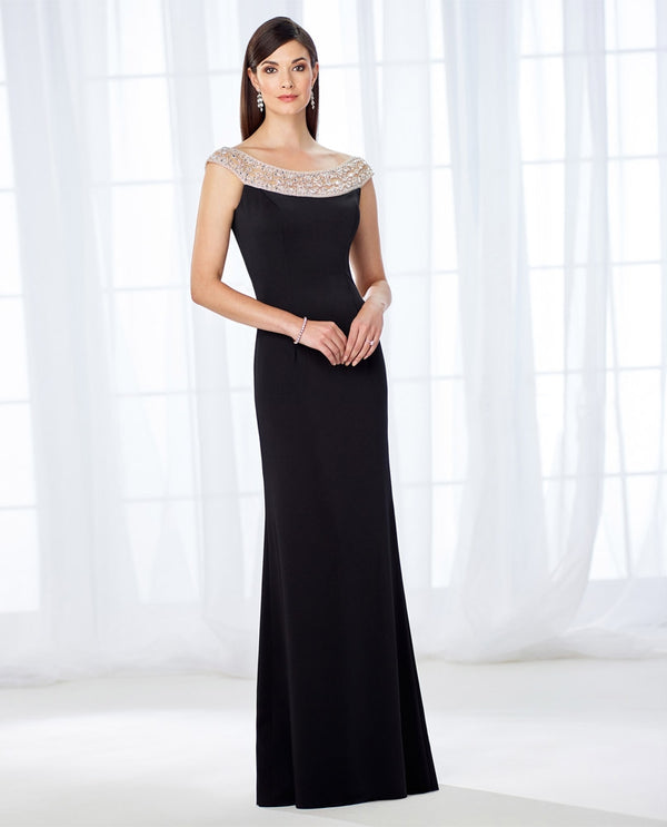 Cameron Blake 118663 Beaded Neck Crepe Dress black mother of the bride dress with beaded neckline