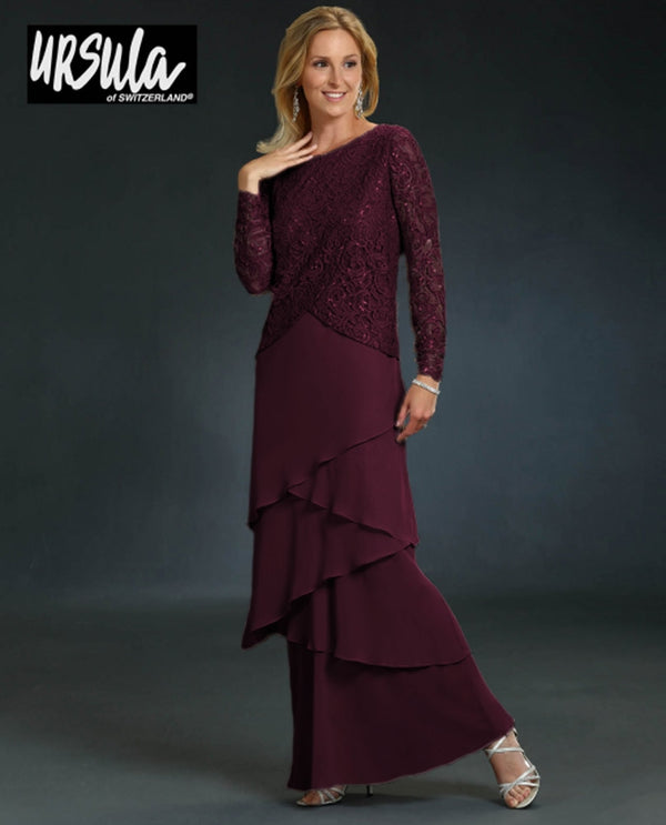 Ursula 61486 Womens Lace Top Layered Dress Merlot long sleeve mother of the bride dress