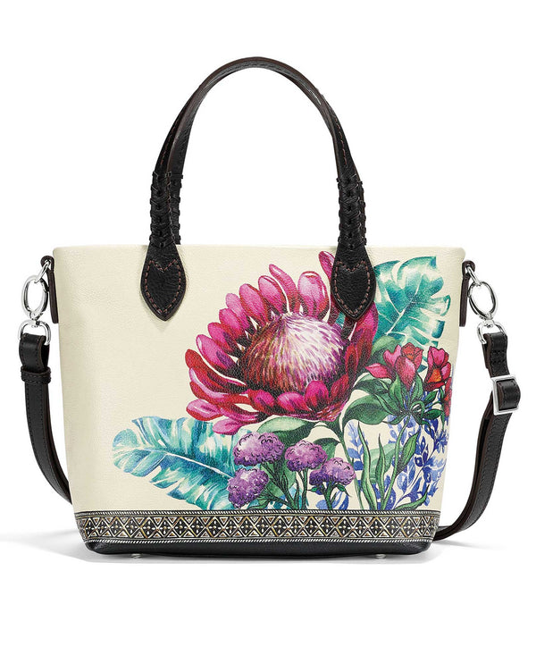 Brighton H4308M Neera Small Tote white leather tote with a colorful floral print