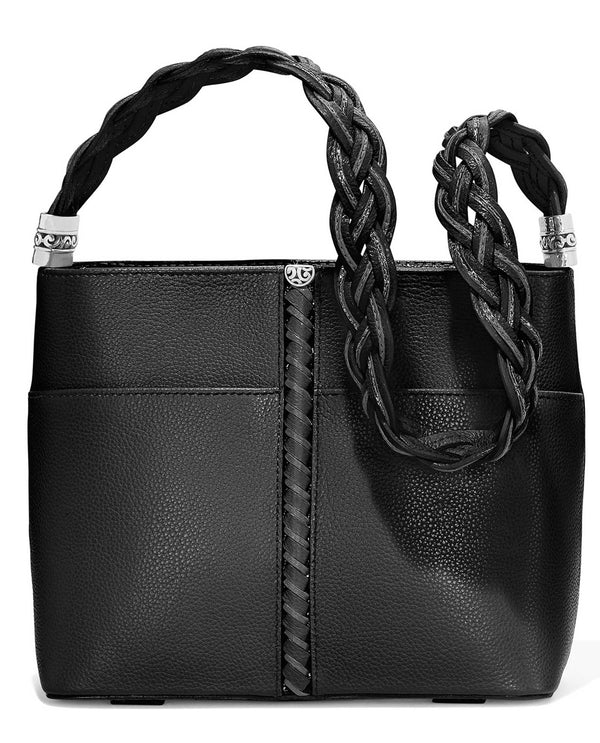 Brighton H43123 Beaumont Square Bucket Bag black leather bucket handbag with braided strap