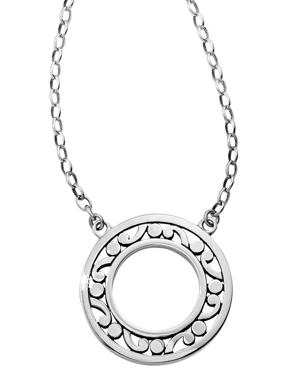 Brighton JM0970 Contempo Open Ring Necklace open silver medallion necklace with scrolls