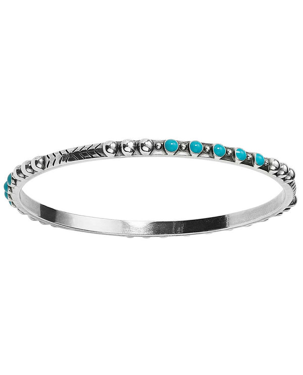 Brighton JF6383 Southwest Dream Trail Slim Bangle slender silver boho bangle with turquoise