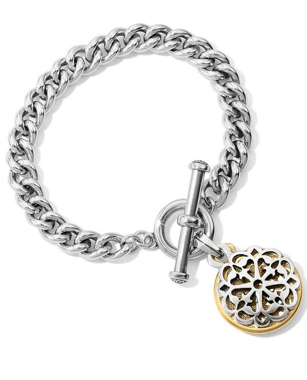 Brighton JF6662 Ferrara Two Tone Toggle Bracelet chunky silver bracelet with medallion dangling