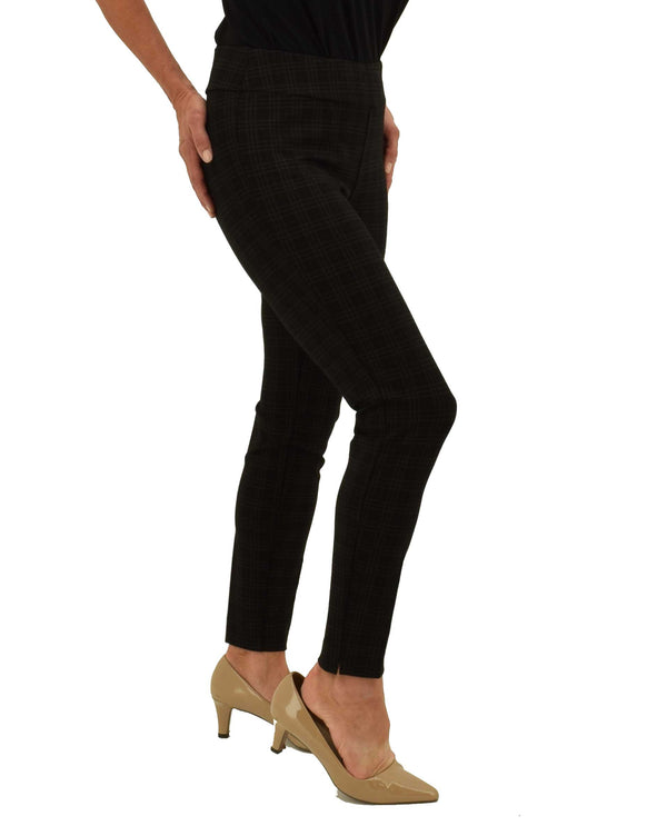 Insight NY BCP8909SKPRF Glen Plaid Scuba Skinny black and grey plaid pull on pants