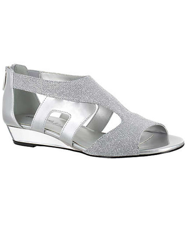 Easy Street Shoes 31-0117 Abra Lo Wedge Sandal sparkling silver low wedge sandals with open toe
