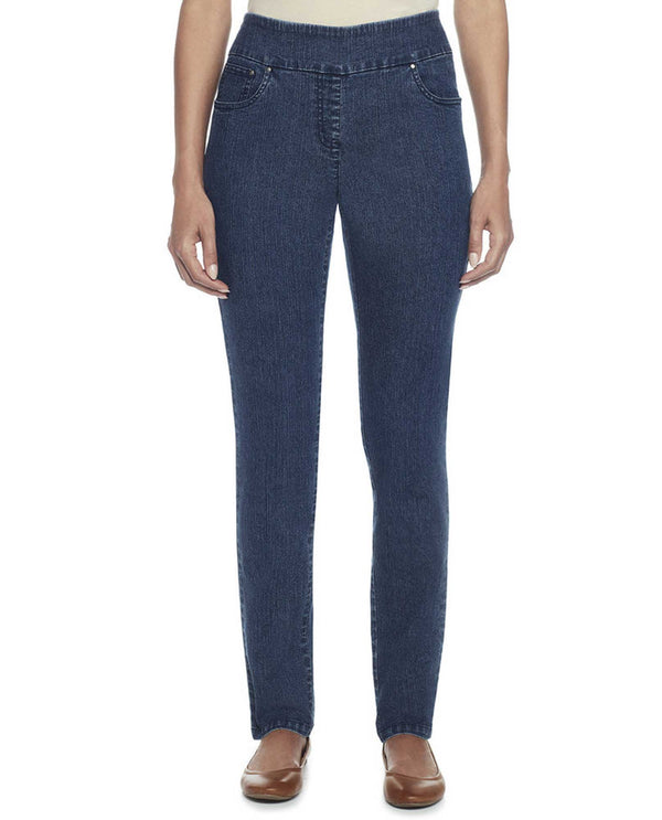 Ruby Rd 99903 Pull-On Stretch Denim dark indigo stretchy pull on denim pants