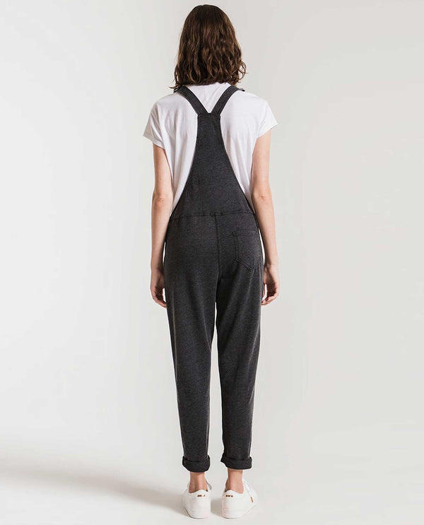 Z Supply ZP184561 The Overalls soft black overalls with cuffed legs and adjustable straps