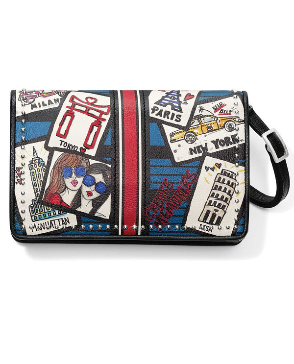 Brighton T4410M Postcards Organizer leather crossbody handbag with postcard design