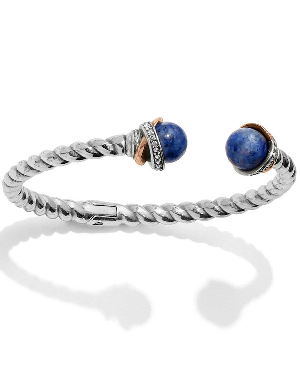 Brighton JF665C Neptune's Rings Brazil Blue Quartz Open Hinged Bangle