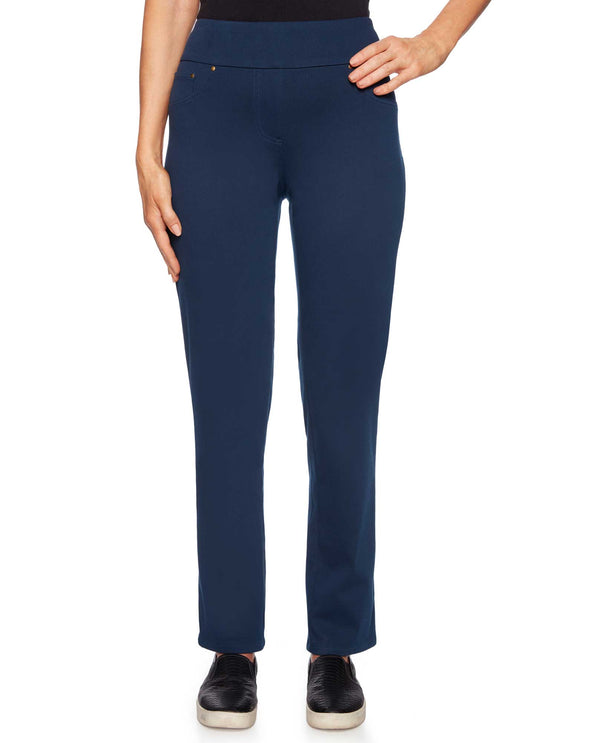 Ruby Rd 57102 Pull On Knit Twill Pant in Midnight