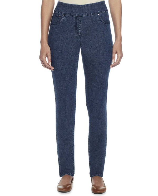 Ruby Rd 57301 Denim Ankle with Cross Details indigo pull on jeans with criss-cross details
