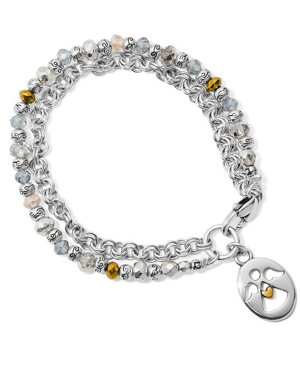 Brighton JF658E Gleam On Angel Bracelet silver beaded bracelet with an angel charm