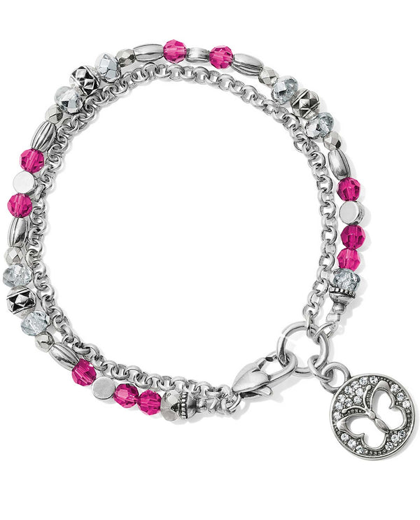 Brighton JF658D Gleam On Butterfly Bracelet clear and hot pink beaded butterfly bracelet