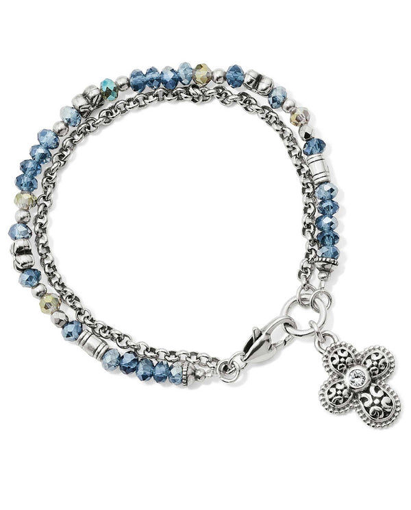 Brighton JF658F Gleam On Faith Bracelet clear and blue beaded bracelet with a cross