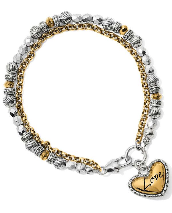 Brighton JF658A Gleam Love Bracelet mixed metal beaded bracelet with heart charm